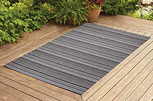 Benissimo Contemporary Indoor/Outdoor Sisal Area Rug Stripes Collection Woven, Durable, and Easy Cleaning | Machine Rug for Living Room, Kitchen, Garage, Kids Room etc. | 5x7 | Light Brown