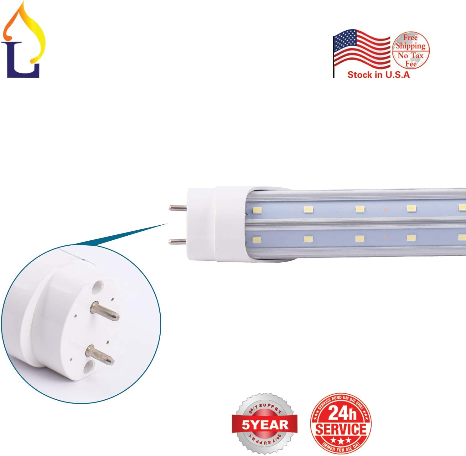 10 Pack JLLEAD Led T8 V Shaped 8FT 48W Tube Light with G13 Base ETL Listed Ballast Bypass Indoor 8 Foot Beer Cooler Lamp White 6000k Double End Powered Input Fluorescent Lighting F60T10 Replacement