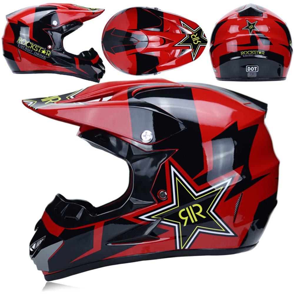 Mopedhelm Motocross Helm PKFG Serie HM-710 Motorradhelm Set Herren Damen Fullface Motorrad DH Cross Offroad Enduro Quad Mountainbike Helme mit Visier Brille Handschuhe Maske,Red~XL