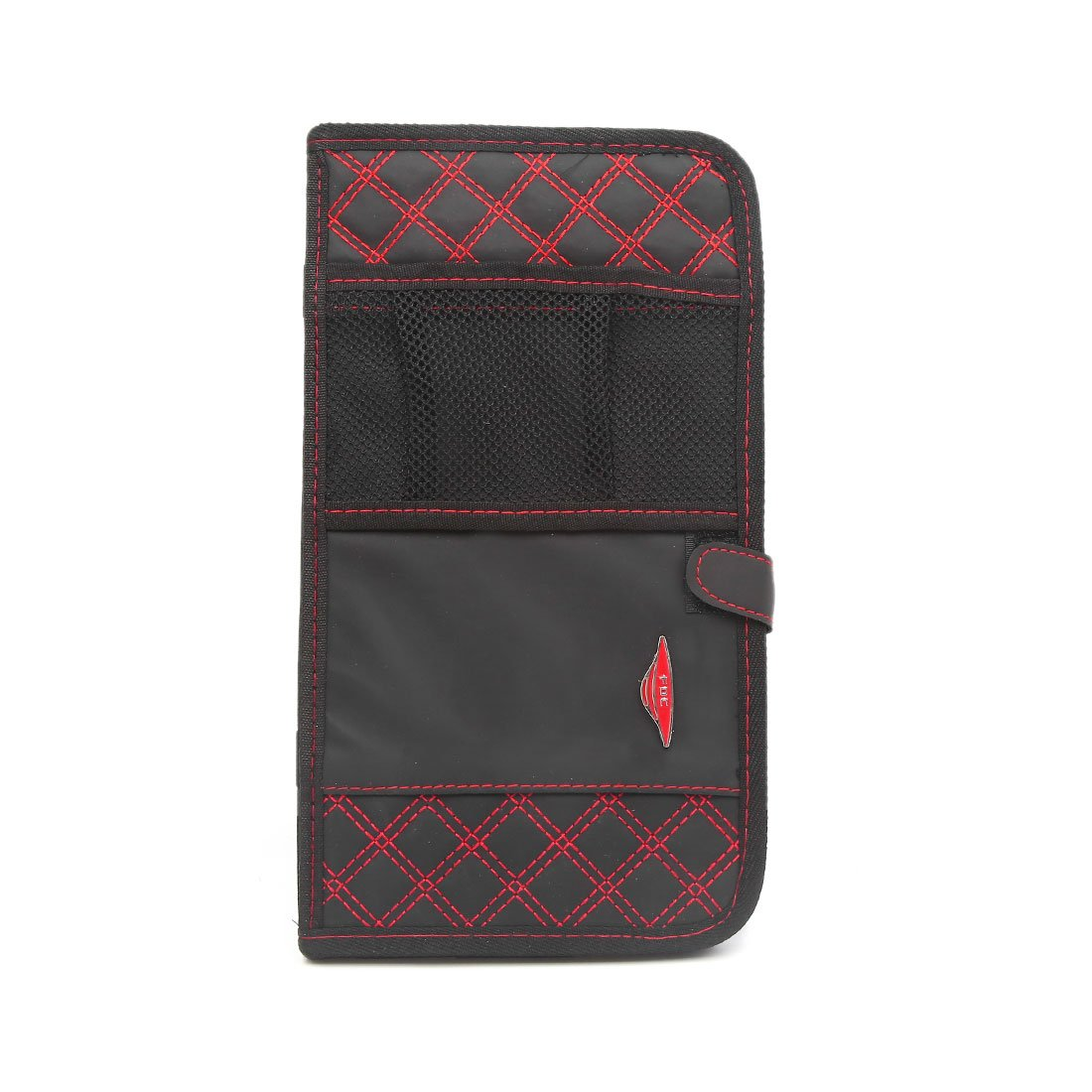 uxcell Red Wire Weave Double-layer Design Car Sun Visor CD Holder Storage Case