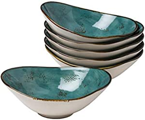 Tuxton Home THGGE403-6B Artisan Angled Bowl, 20-Ounce, Geode Azure Teal