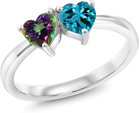 Gem Stone King 1.15 Ct Heart Shape Green Mystic Topaz London Blue Topaz 925 Silver Ring