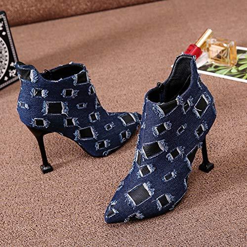 KPHY Damenschuhe Darauf Nackt Stiefel High Heels Mit Hohen 10Cm 10Cm 10Cm Retro - Patches Dünn Und Kurze Stiefel. 326ecb