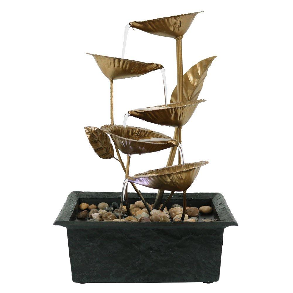 Sunnydaze Cascading Five Leaves Tabletop Fountain with LED Light, 13 Inch Sunnydaze Decor 1506-918