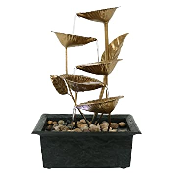 Sunnydaze Cascading Five Leaves Tabletop Fountain With LED Light, 13 Inch