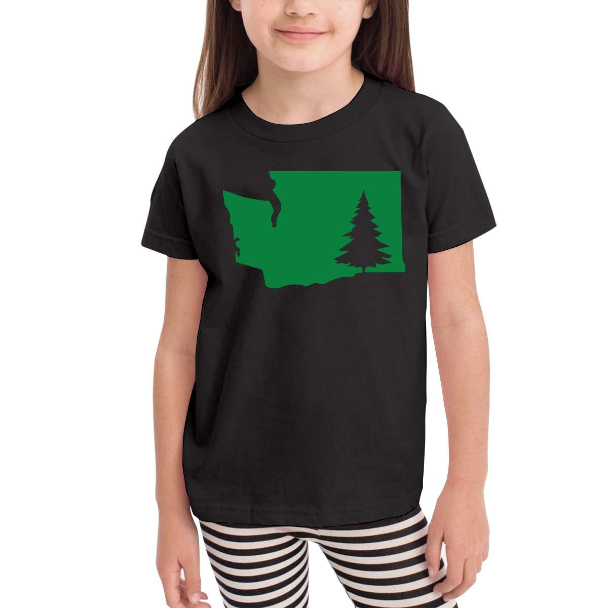 Baby Girls Little Boys Washington State Tree Cotton Short Sleeve Tee Tops Size 2-6