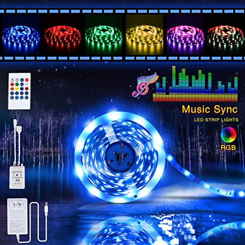 LED Strip Lights,Tenmiro 16.4ft LED Lights Sync to Music, LED Light Strip Kit with 20-key IR Remote Controller & Power Supply,RGB 5050 Color Changing LED Strip Home Lighting Kitchen Bedroom Decoration