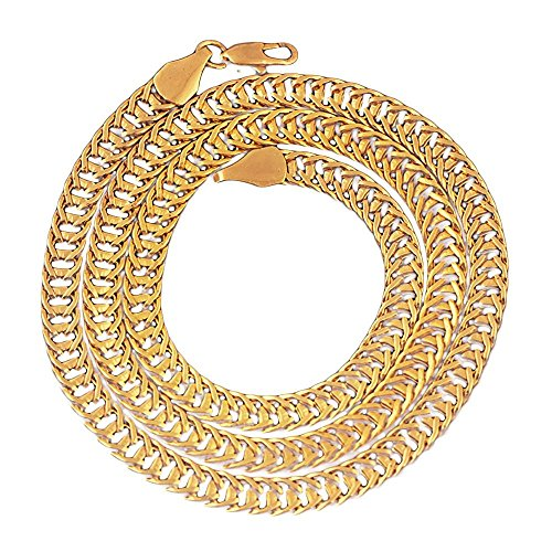 - Chrikathy Luxury Filled Curb Cuban Link Foxtail Thick Chain Gold Necklace Jewelry for Men and Women
