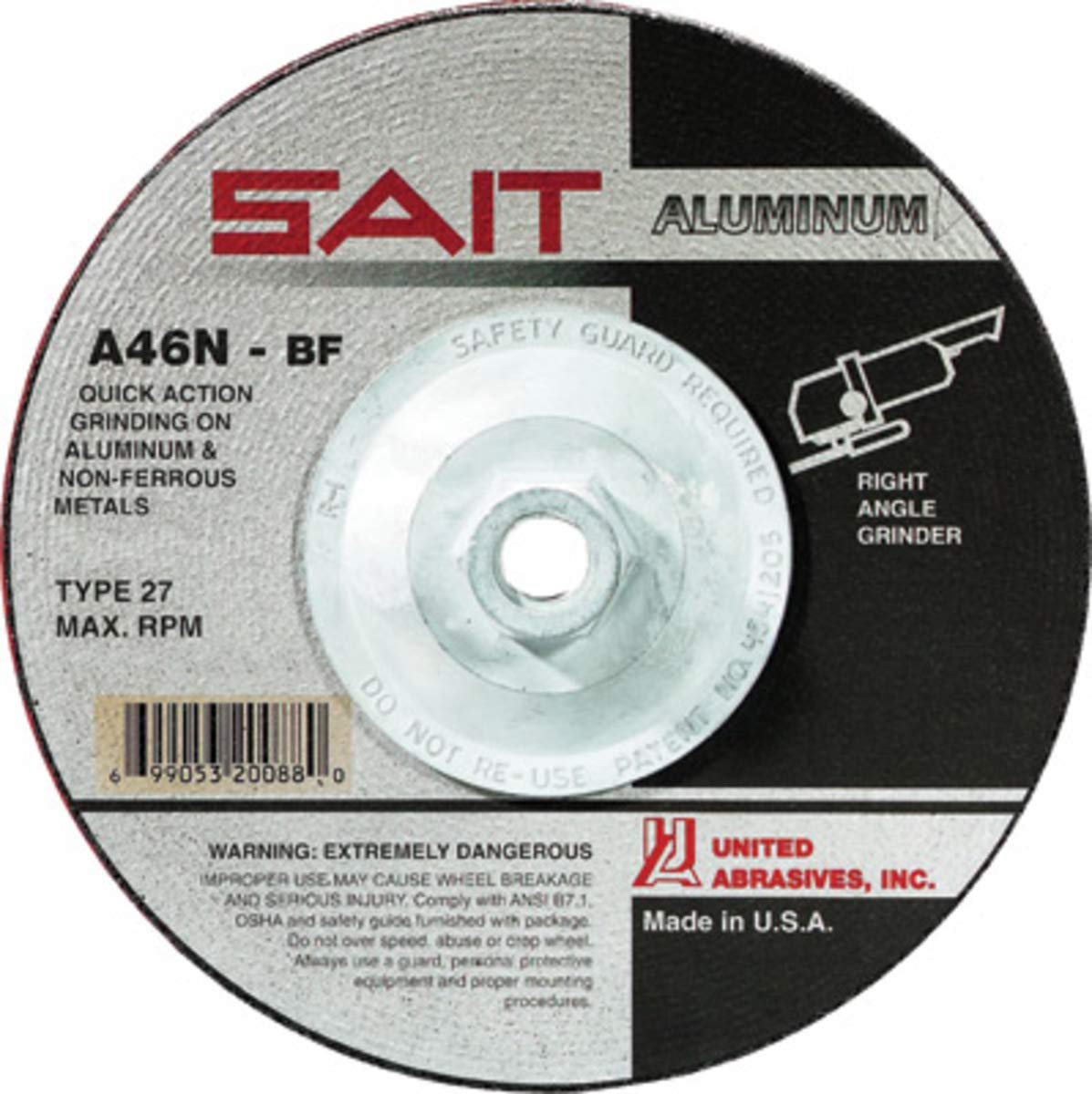 United Abrasives 5'' X 1/4'' X 5/8'' - 11 A46N 46 Grit Aluminum Oxide Type 27 Grinding Wheel, Package Size: 10 Each