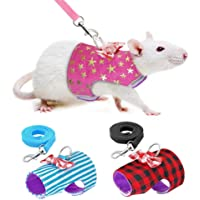 Stock Show Small Pet Outdoor Walking Harness Vest and Leash Set with Cute Bowknot Decor Chest Strap Harness for Rat Pet Ferret Hamster Squirrel Clothes Accessory, Red Plaid