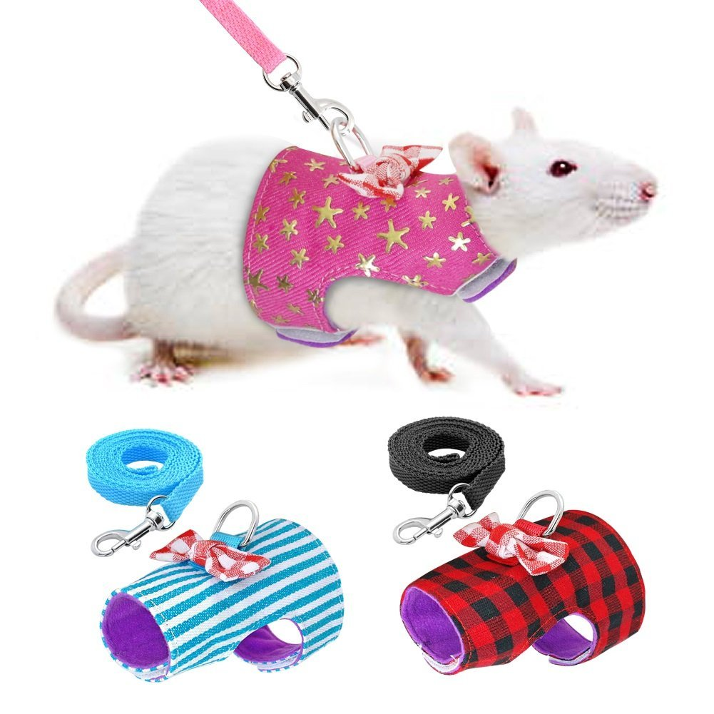Stock Show Small Pet Outdoor Walking Harness Vest and Leash Set with Cute Bowknot Decor Chest Strap Harness for Rabbit Ferret Guinea Pig Bunny Hamster Puppy Kitten Clothes Accessory Red Plaid