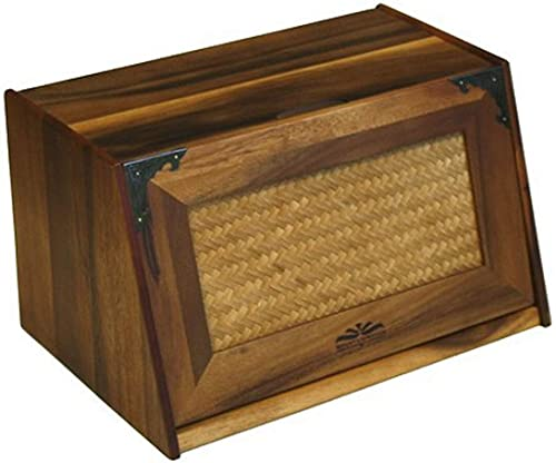 Mountain Woods Brown Antique Style Extra Large Acacia Wooden Bamboo Bread Box