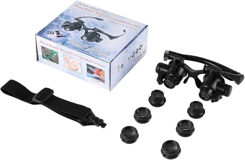 Juego de herramientas de lupas de reparación de reloj de doble ojo izquierdo/derecho Lupa Joyero Lupas con luz LED 10X 15X 20X 25X BCVBFGCXVB (Negro)