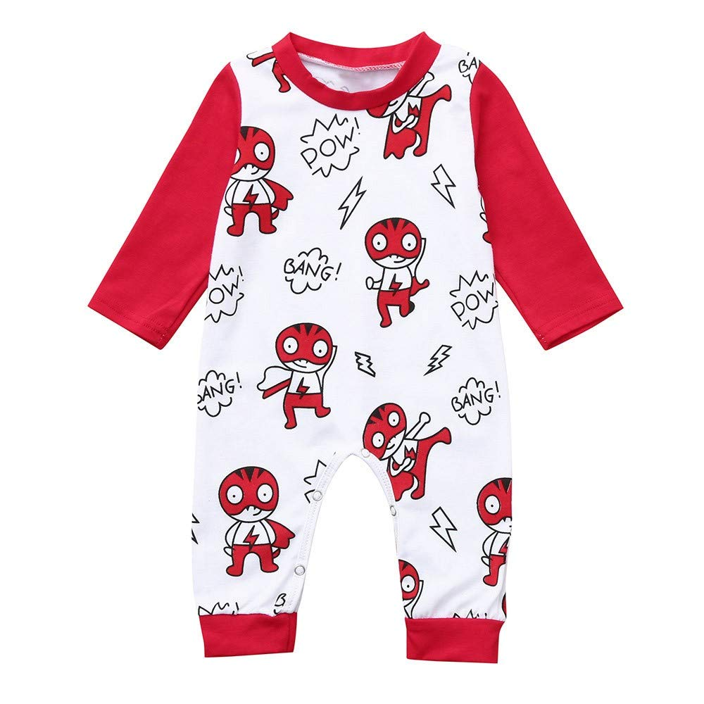 Baby Boys Girls Unisex Rompers, Weant Newborn Infant Baby Clothes Set Fashion Long Sleeve Cartoon Print Rompers Jumpsuits for Kids Toddlers Onesie All in One Pullover Blouse Tops Pajamas Outfits Gifts