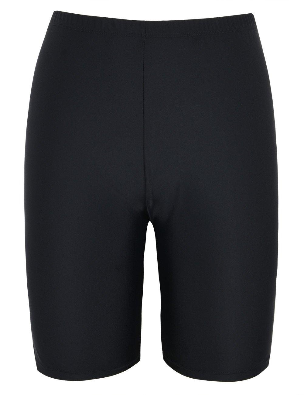 Hilor Women's UV Long Bike Shorts Rash Guard Boy Leg Swim Bottom Active Sport Capri Pants Black 22