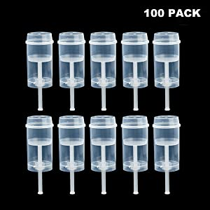 Clear Push-Up Cake Pop Shooter (Push Pops) Plastic Containers with Lids, Base & Sticks, Pack of 100(100 pack)