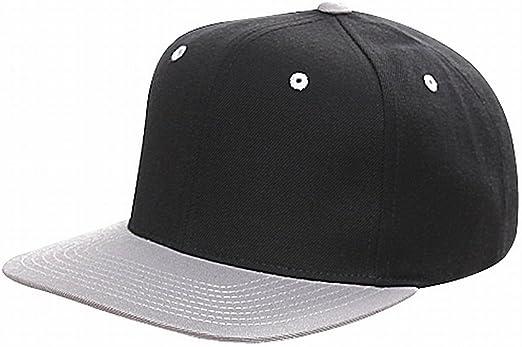 BLANK Black//Silver  Yupoong 6089 Flat Bill Snapback Hat