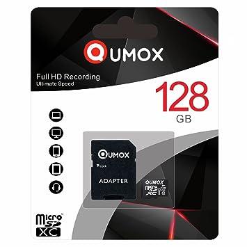 QUMOX 128GB Tarjeta Micro SD de Memoria de Clase 10 UHS-I, Velocidad de Escribir 30 MB/s, Velocidad de Lectura hasta 80 MB/s