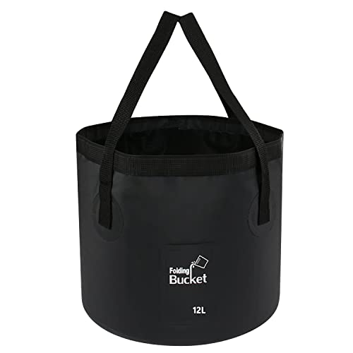 Folding Water Bucket - Foldable Camping Storage Container Collapsible Fish Bucket 12L 15L 20L Portable Lightweight Pail for Camping Traveling Hiking Fishing Boating and Gardening
