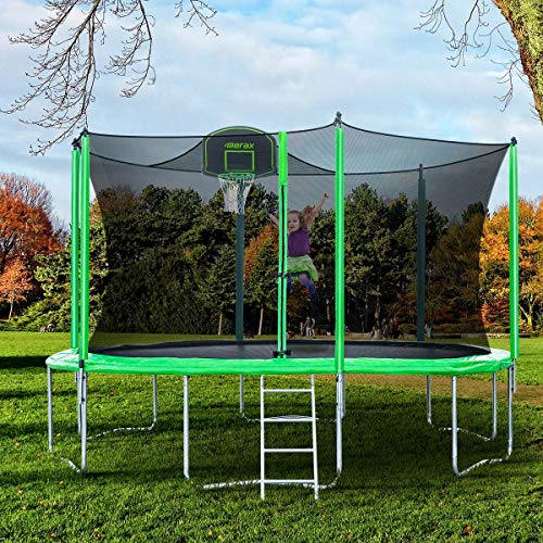 Merax 14FT 12FT Trampoline with Safety Enclosure Net, Basketball Hoop and Ladder - BV Certificated – Basketball Trampoline (12 Feet) by Merax (Image #1)