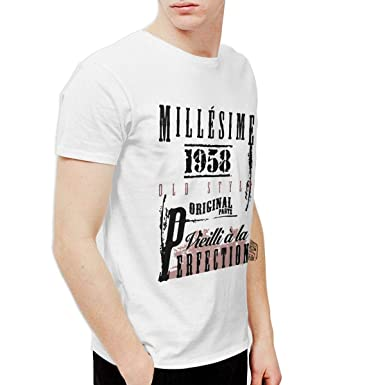 e78f7ff6073266 LVTVFNQJ Men s 1958 Milleisime Cadeaux Anniversaire Cool Walk White T Shirt  Short Sleeve