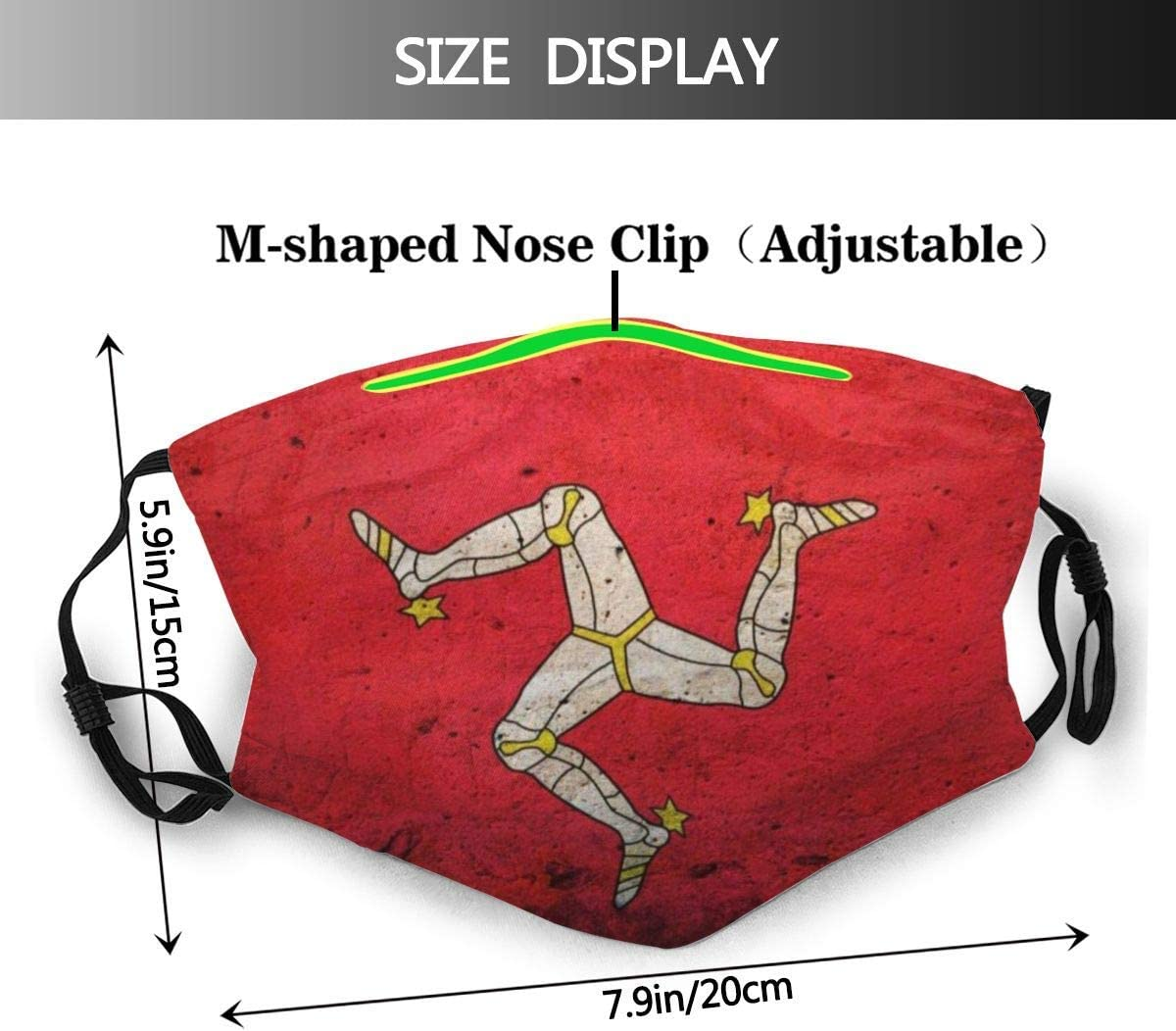 926 Isle of Man Flag Dust Washable Reusable Filter and Reusable Mouth Warm Windproof Cotton Face