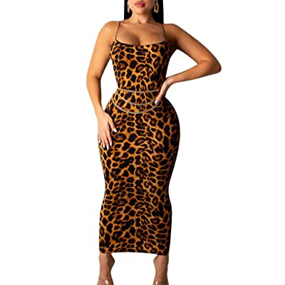 acelyn Women's Spaghetti Strap Dress Bodycon Sexy Sleeveless Leopard Print Maxi Long Club Dresses at Women's Clothing store