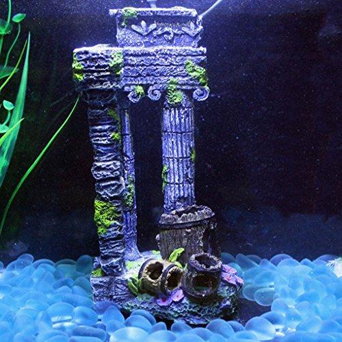 You May Fish Tank Decor Simulation Resin Roman Gate Post + Broken Barrel Aquarium Ornaments