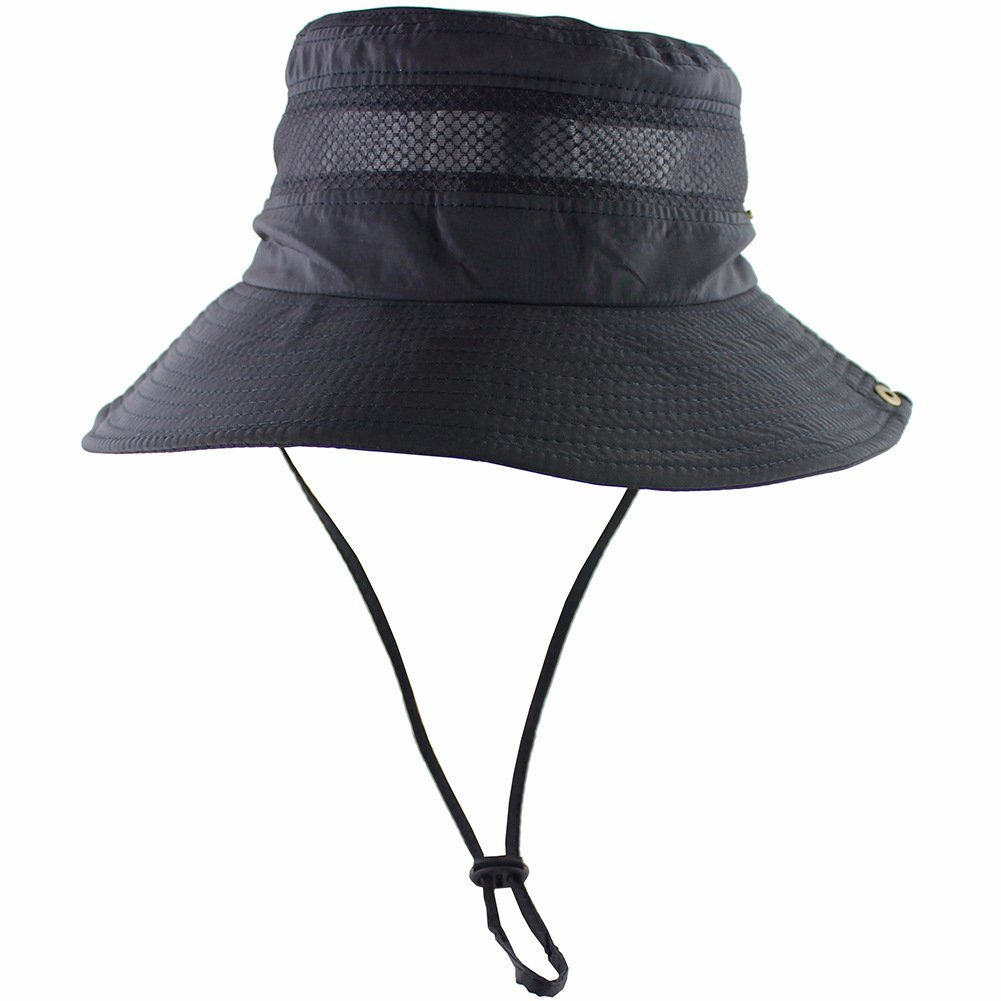 2916f808622 Buy Breathable Wide Brim Boonie Hat Outdoor UPF 50+ Sun Protection Mesh  Safari Cap for Travel Fishing (Black) Online at Low Prices in India -  Amazon.in