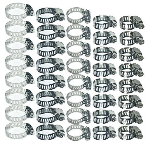 Stainless Steel Worm Gear Hose Clamps Water Pipe Clamps Assortment Kit 40 Piece ()