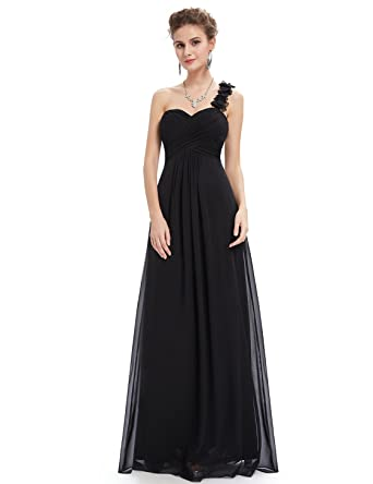 65940ee98ee Ever Pretty One Shoulder Maxi Long Bridesmaid Dresses for Women 8UK Black