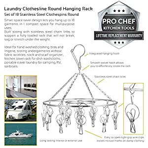 Pro Chef Kitchen Tools Stainless Steel Laundry Drying Rack - Round Compact Portable Outdoor Indoor Clothesline Replacement To Dry Clothing Anywhere and Includes Set of 18 Metal Clothespins