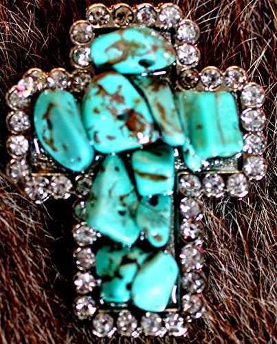Stones Cross Crystal Leather - Challenger Tack 4 Conchos Rhinestone Horse Saddle Western Cross CO62