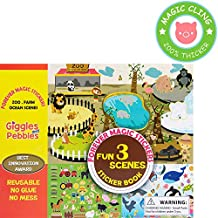 Giggles & Pebbles Educational Magic Sticker Pad Book for Kids,Toddlers, Boys and Girls - Reusable, Washable and Non-Adhesive Stickers with Farm, Zoo, Ocean Animals, for Storytelling, Games and Fun