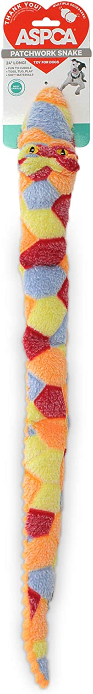 ASPCA Snake Dog Toy Squeaky Plush One Piece Pet Teeth Teasing Toy, Pizza Food Plush Dog Toy (AS21085)