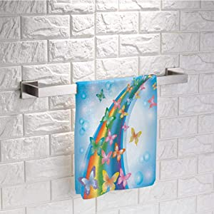 DayDayFun Butterfly Hand Towel Colorful Background with Rainbow Butterflies Bubbles Fairy Cheerful Graphic Print Towels for Cleaning Size 8