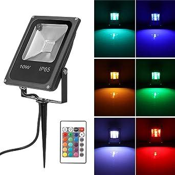 Konesky 10W RGB LED Césped Luces de inundación Control remoto ...