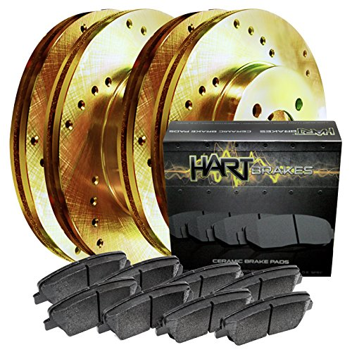 Fits 87-89 300ZX Full Kit Gold Hart Drilled Brake Rotors Disc and Ceramic Pads (88 Drilled 89 Brake 87)