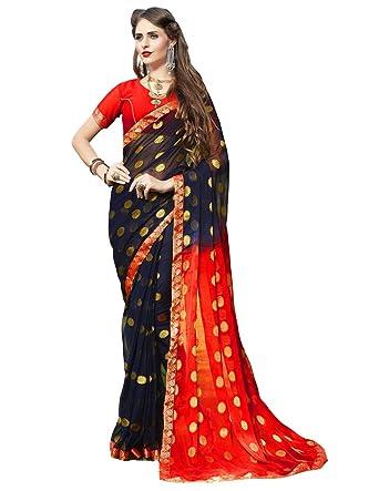 Craftsvilla Women S Chiffon Thread Work Saree With Blouse Piece