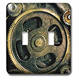 Spiritual Awakenings-Patterns - Steam punk gears in bronze realistic look fun art - Light Switch Covers - double toggle switch (lsp_167128_2)