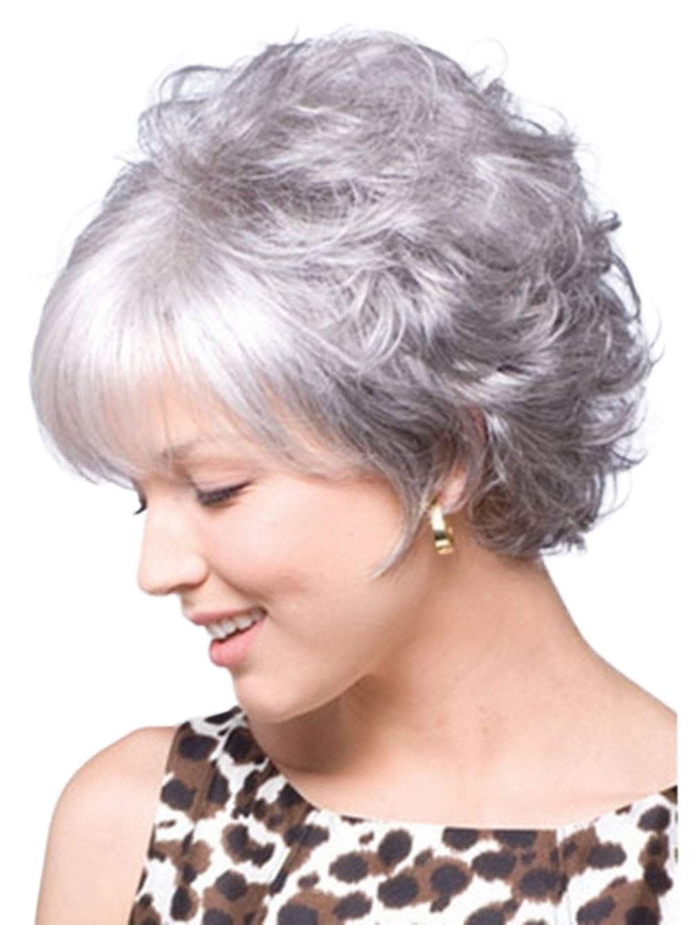 Gray Wigs for Women Short Silver Gray Ladies