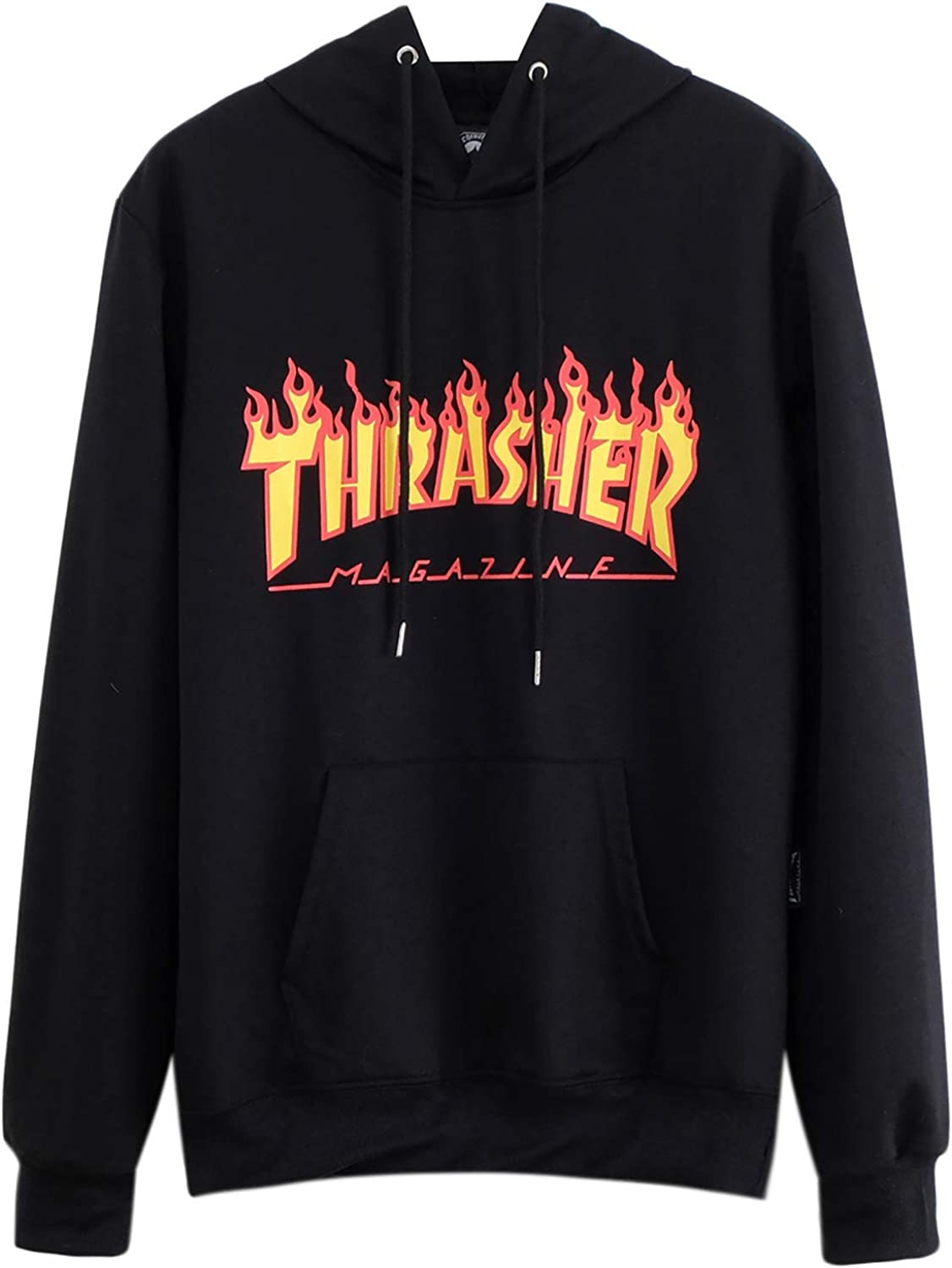 Thrasher Flame Magazine Hoodies Letter Print Hooded Pullover Unisex Sweatshirt with Pocket