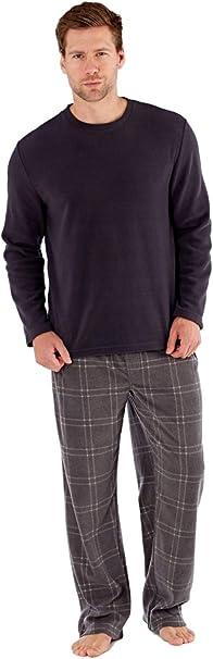 SaneShoppe Hombre Top Térmico, Forro Polar Pantalones Cálido Pijamas Juego - sintético, Gris, L