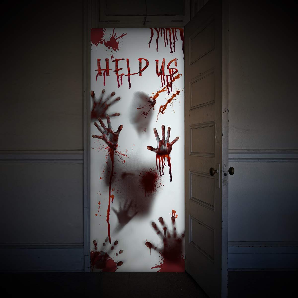 "Halloween Decorations for Window Wall, Scary Bloody Handprint Halloween Props Indoor, 80×35.5"" 80×35.5"