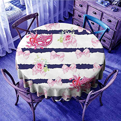 ScottDecor Masquerade Picnic Cloth Venetian Style Carnival Masks on Stripes with Satin Bows Roses Flowers Beach Round Tablecloth Pink White Blue Diameter 54