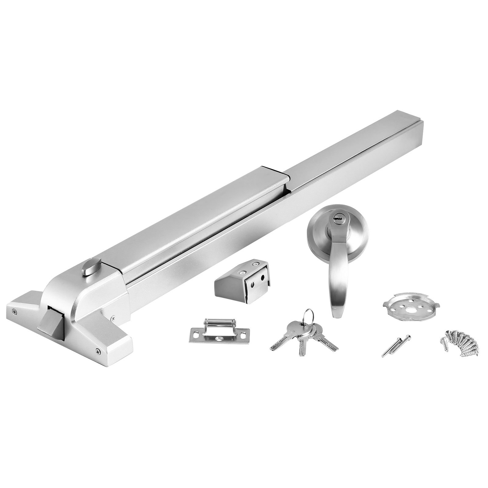Happybuy Door Push Bar Panic Exit Device with Exterior Lever Commercial Emergency Exit Bar Stainless Steel Panic Exit Device Suitable for Wood Metal Door (Push Bar with Exterior Lever)