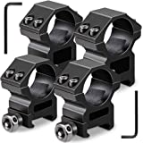 Modkin 1'' Scope Rings, 2Pcs High Profile Scope Mounts + 2Pcs Medium Profile 1 Inch Scope Rings for Picatinny/Weaver Rail - Pack of 4