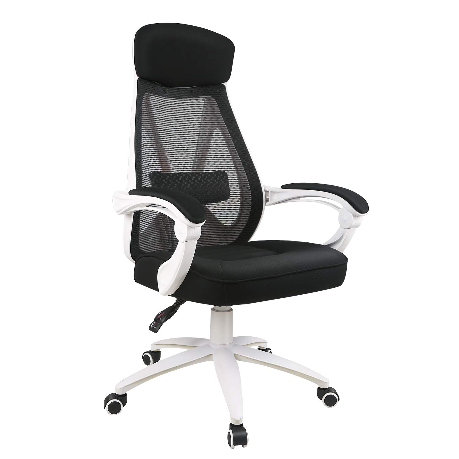 DEVAISE Ergonomics Recliner Office Chair, High Back Mesh Computer Desk Chair with Adjustable Lumbar and Armrest Support, White