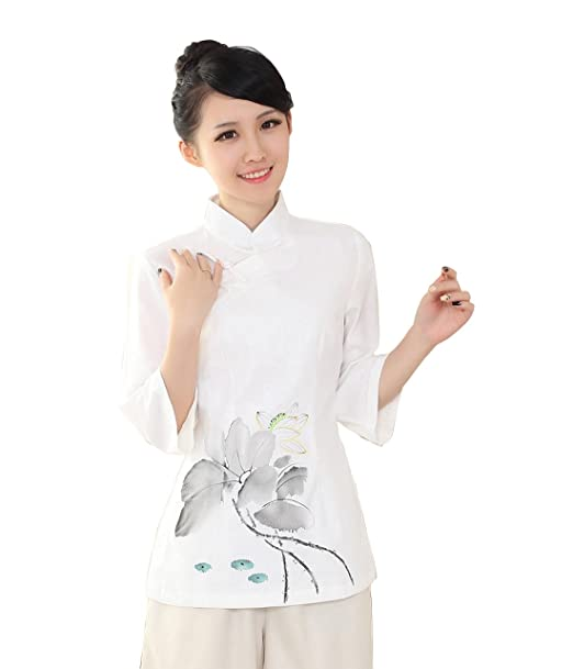 YueLian Mujeres Elegante Manga 3/4 Patrón de Loto Ropa China Saco Blusa de Lino