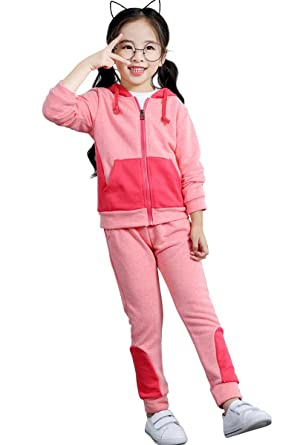 bf8962810bfe Little Girls Full-Zip Hooded Sweatshirt Sweatpants Set Outfits Clothes (Pink,100)